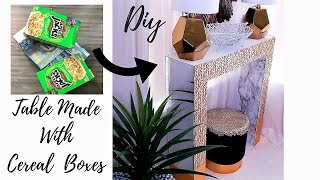 DIY TABLE MADE WITH CEREAL BOXES!!! QUICK AND INEXPENSIVE DECOR IDEA 2019