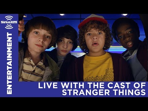 The cast of Stranger Things answering questions with SiriusX