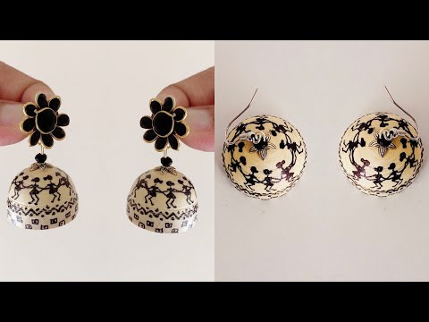 Paper Quilled Jhumkas/Making Simple And Beautiful Paper Jhumkas Using Warli Design/Diy/jhumkas