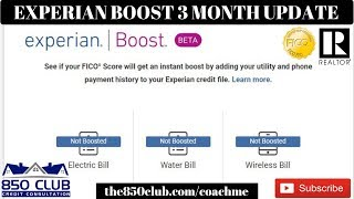 New Experian Boost Update - Its Been 3 Months  & FICO Score Expectations - UltraFICO, No CPN, Report