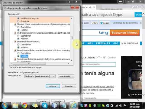 Activar ActiveX en Internet Explorer