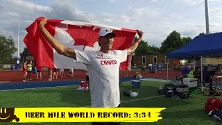 New Beer Mile World Record Run! 4 minutes 34 seconds