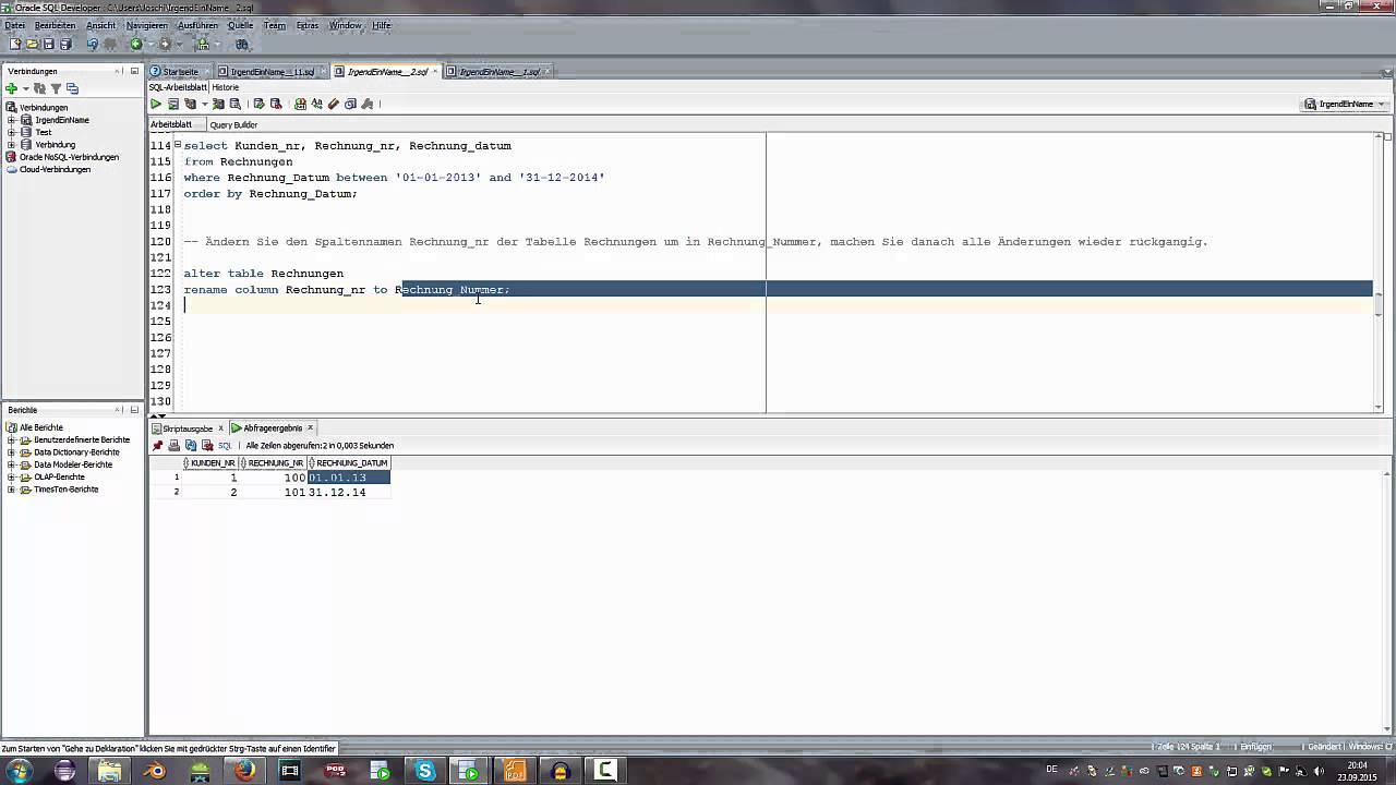 SQL Tutorial Deutsch/German - Spaltennamen ändern/umbennen - YouTube