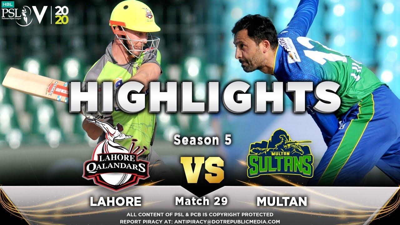 Lahore Qalandars vs Multan Sultans | Full Match Highlights | Match 29 | 15 March | HBL PSL 2020