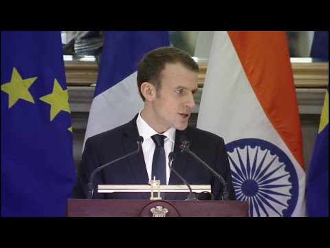 PM Modi & French President Emmanuel Macron at Exchange of Agreements and Joint Press Statement