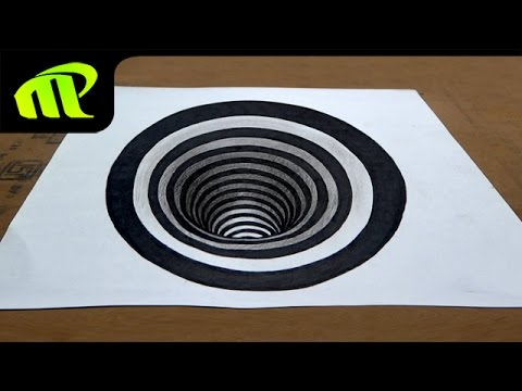 Drawing a round hole anamorphic illusion 3d trick art for 3d sketch online