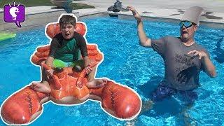 Last to Float Away from Shark Wins! Challenge by HobbyKidsTV