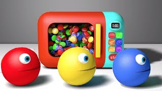 Learn Colors with Microwave Toy and Bunny Mold Pacman for Kids Children