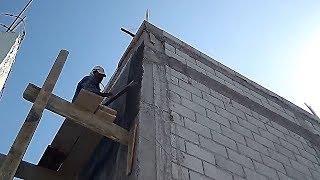 ¡INCREIBLE ENJARRE EN CONSTRUCCIÓN DE 8 M DE ALTURA!..¡ANDAMIO GIGANTE DE MADERA,,!