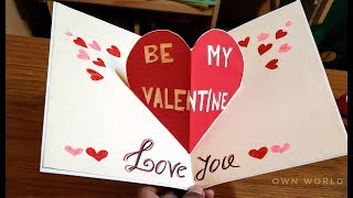 Very Easy ! Beautiful Handmade Valentine's Day card idea   DIY Greeting Cards for Valentine's day