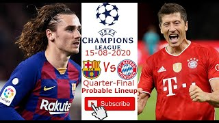 More videos: shorturl.at/ouais the match of week is fc barcelona vs bayern munchen in uefa champions league quarter-final 15/08/2020. vs...