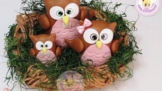 Opção para dia das mães – Topo de bolo corujinhas no ninho