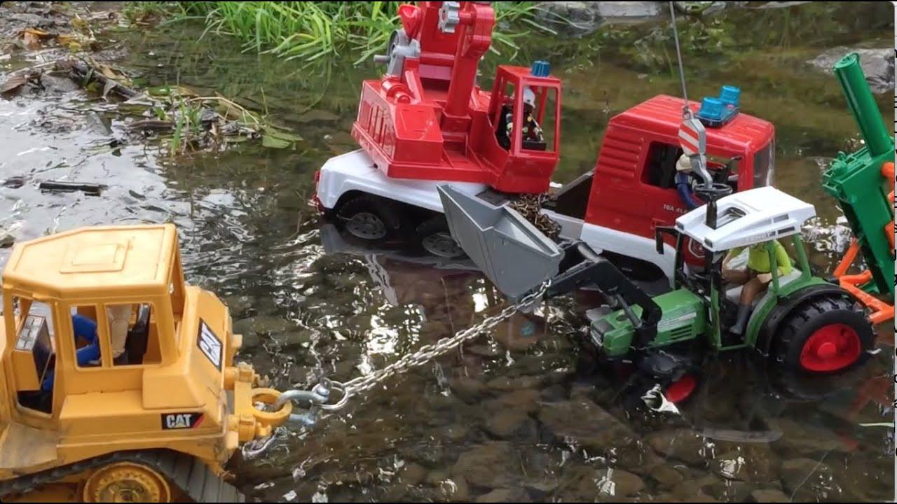 Bruder Toys Tractor For Children Stuck In River Bruder