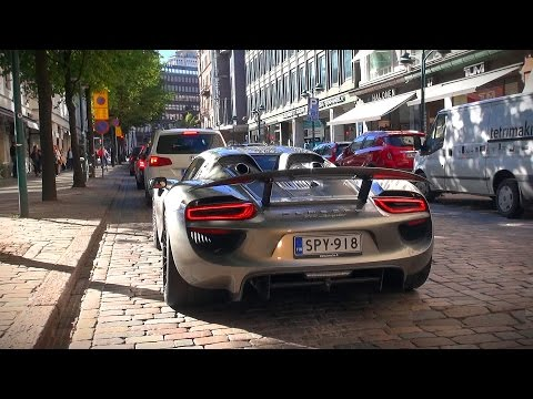 SPOTTED: Porsche 918 Spyder in Helsinki! Startup and drive off