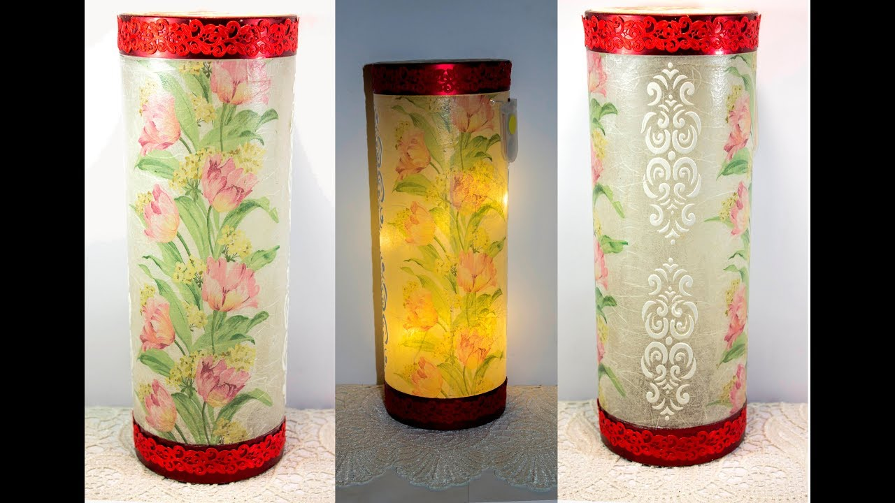 Decoupage lesson for beginners 42 decoupage on plastic , bottle lamp  making ideas if decoration