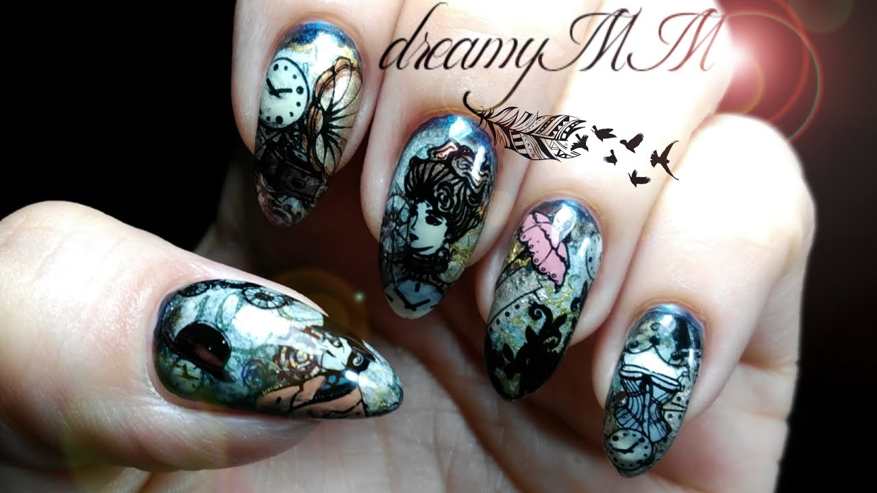 Steampunk - Victorian Stamping Nail Art - YouTube