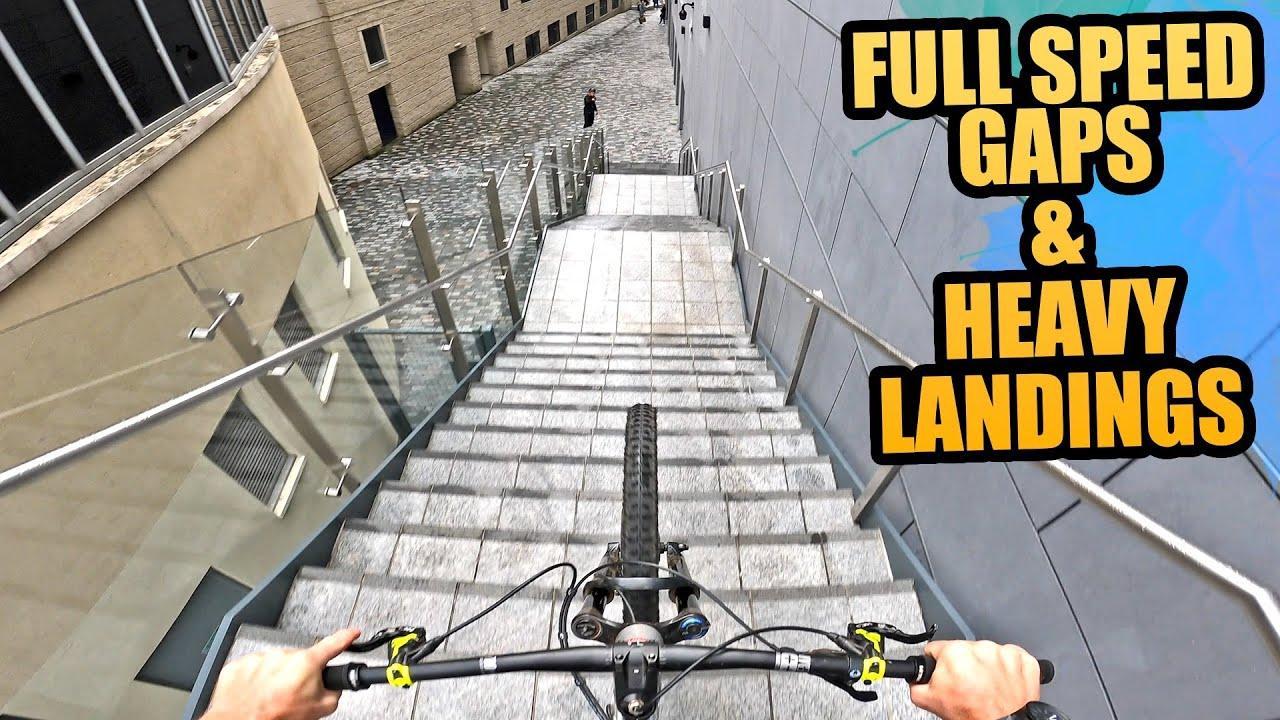FULL SPEED STAIR GAPS AND HEAVY LANDINGS - URBAN MTB FREERIDE