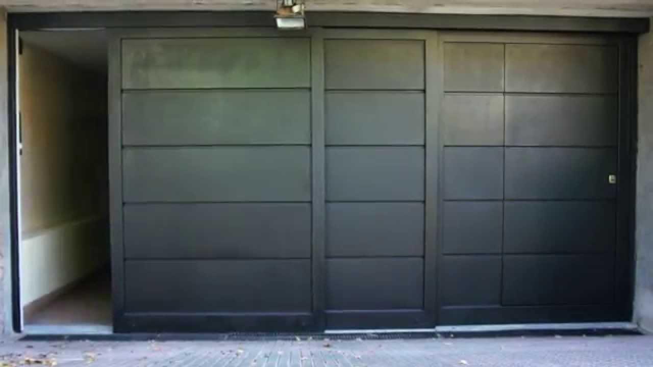 Portones riente original corredizo tres hojas youtube for Garajes originales