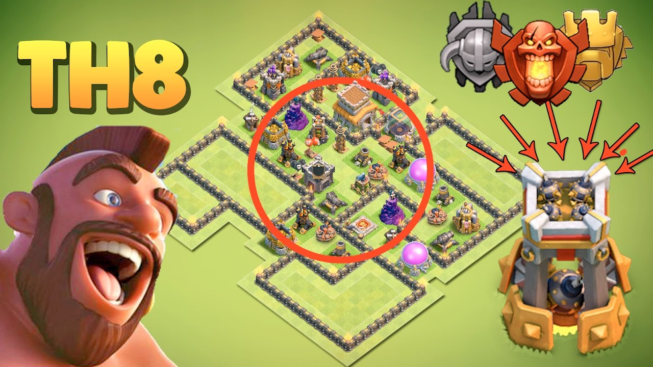 TH8 TROPHY BASE with BOMB TOWER|COC TH8 ANTI DRAGON/ANTI 3 ...