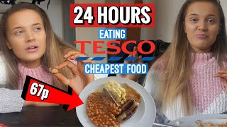 24 HOURS EATING THE CHEAPEST FOOD IN THE SUPERMARKET *SHOCKED*