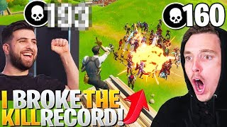 I BROKE Lazarbeam's WORLD RECORD! (Most Kills In A Fortnite Game!)