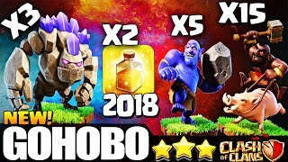 Golem + Hogs + Bowlers : Best Th9 attack HoBo/GoHoBo/GoBoHo | Best Th9 Attack | Clash of Clans