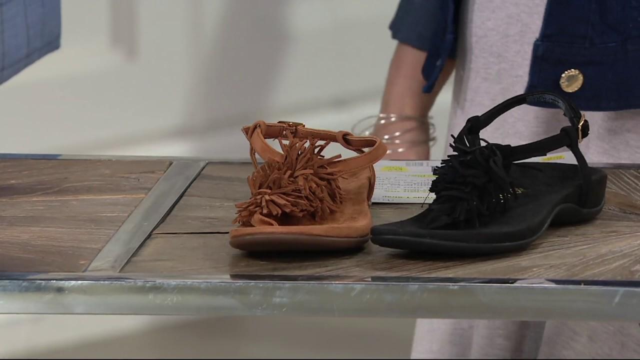 f8b76852fad Vionic Orthotic Suede Fringe T-Strap Sandals - Sosha on QVC - YouTube