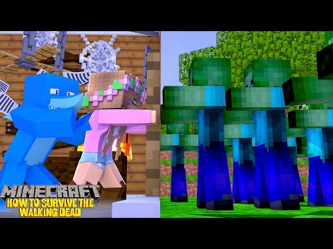 HOW TO SURVIVE THE WALKING DEAD!! Minecraft w/ Sharky and Little Kelly