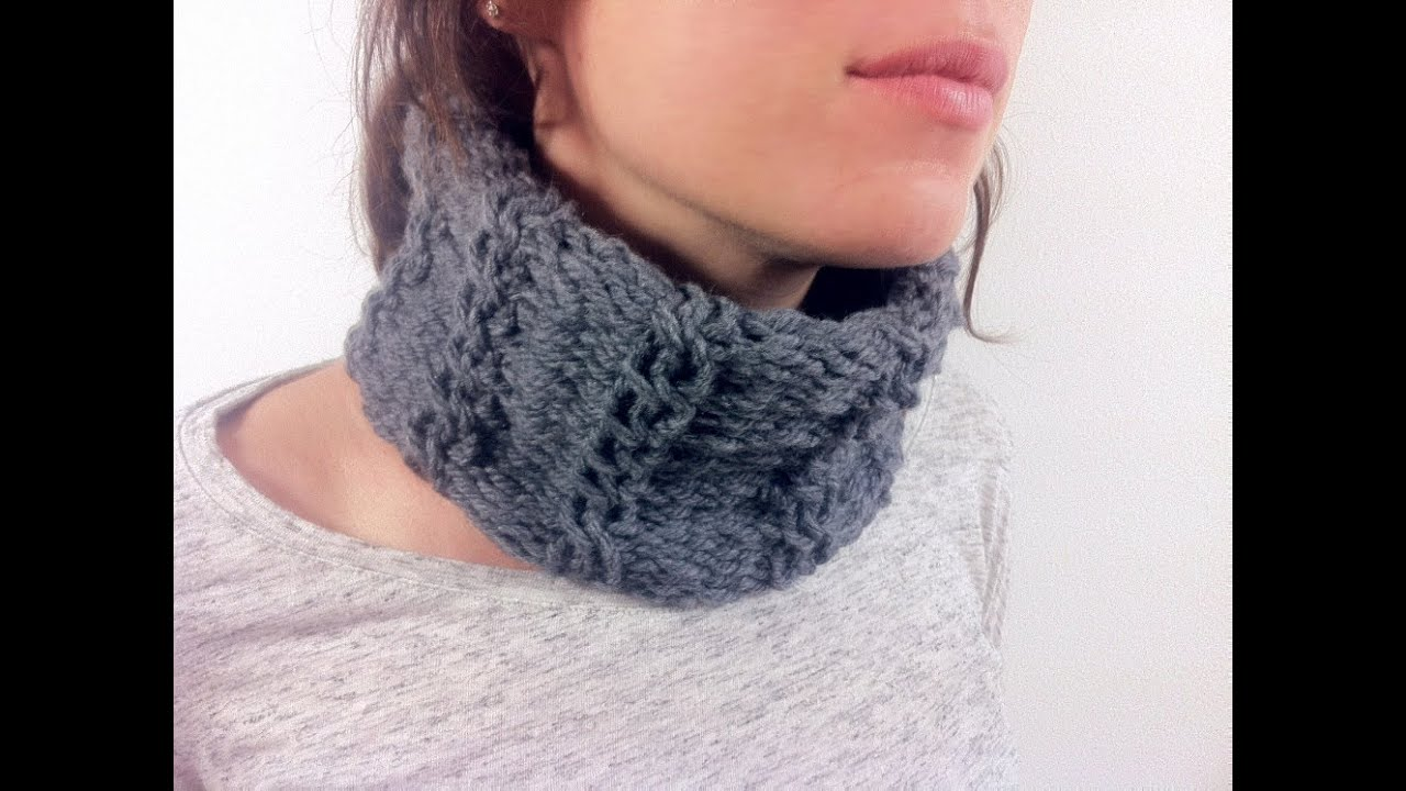 Wool Knitting Tutorial : How to loom knit a cabled cowl diy tutorial doovi