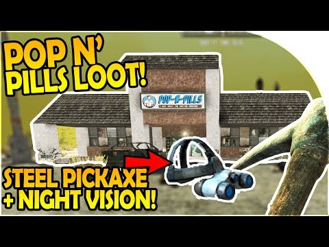 POP N PILLS STORE LOOT - NIGHT VISION GOGGLES + STEEL PICKAXE - 7 Days to Die Alpha 16 Gameplay #24