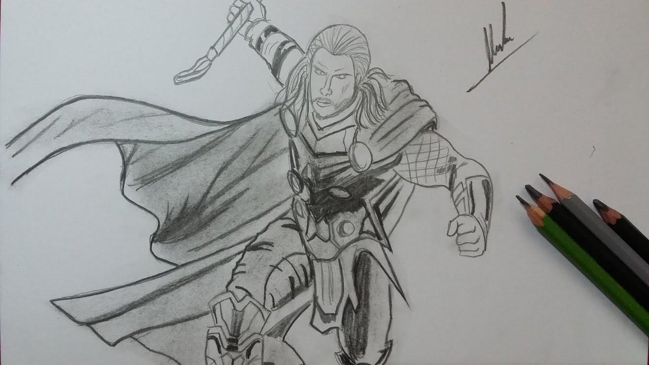 Dibujo de Thor: Vengadores/ Drawing Thor: Avengers - YouTube