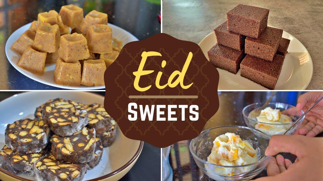 Eggless Eid sweets| Mango pudding | Bread Chocolate cake | Wheat flour bites | Parle-G choco rolls
