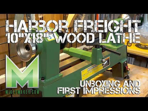 """Harbor Freight 10""""x18"""" Wood Lathe Unboxing and First Impressions"""