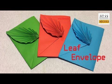 How to make leaf envelope with paper -  DIY origami envelope folding easy