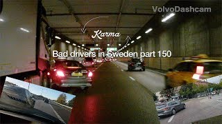 Bad Drivers in Sweden #150 Roundabout hell and taxi accident