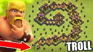 """Clash Of Clans - INCREDIBLE TROLL BASE """"THE SWIRL""""  - Trolling Clan / Friendly Challenge 2016!"""