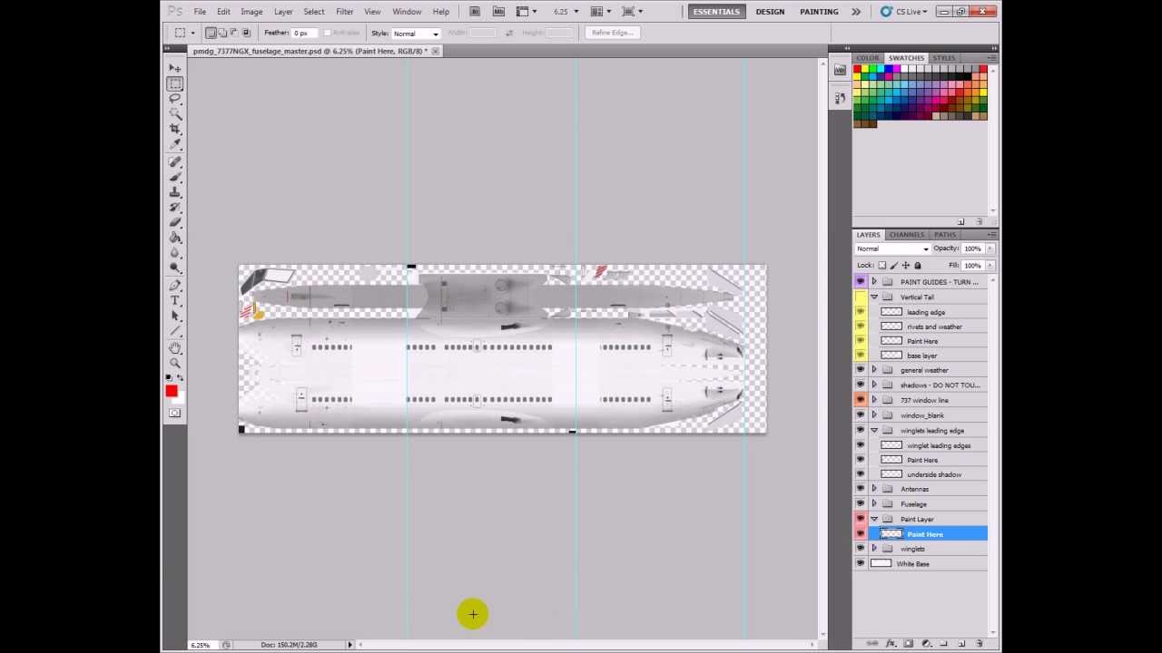 Tutorial: Painting a 737-700NGX PMDG Livery FSX (Part 1) (Slowed Down)