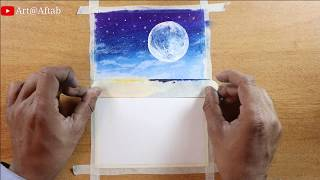 Easy oil pastel drawing for beginners / Moonlight night sky / step by step