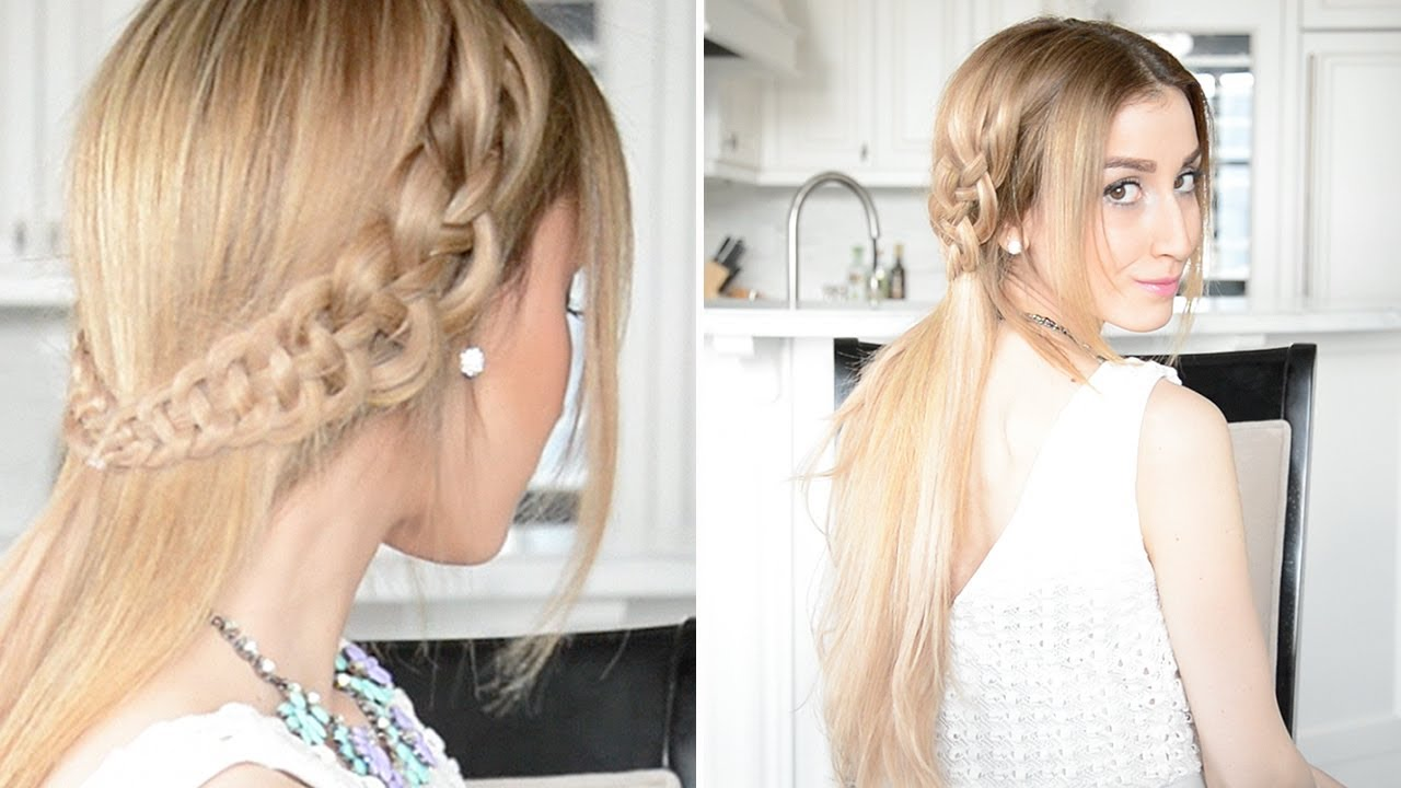 4-Strand Slide Up Braid Hairstyle | Fancy Hair Tutorial - YouTube