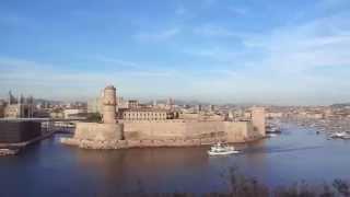 Марсель. Старый порт.(Вид на Старый порт, Форт Сен-Жан и базилику Notre-Dame-de-la-Garde., 2015-05-29T15:49:41.000Z)