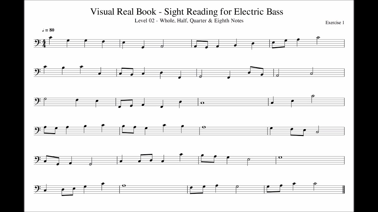 Sight Reading for Bass, Level 02 (Whole, Half, Quarter & Eighth Notes),  Exercise 01
