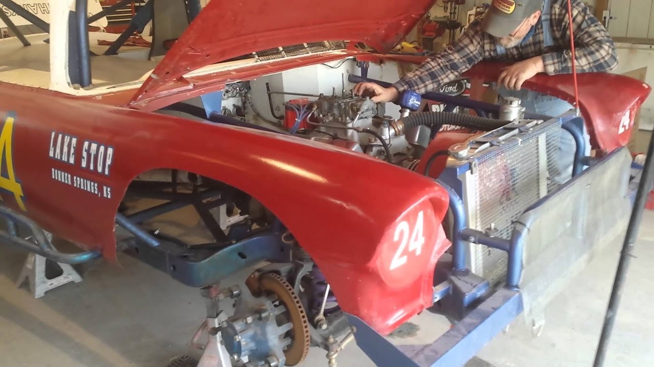 1955 Chevy race car fired up! - YouTube
