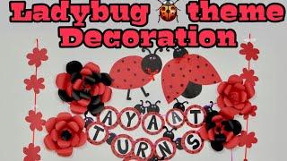 Ladybug Decoration Diy Part 1 | Ladybug 🐞 Theme Birthday Decoration | Red & Black Decoration Idea
