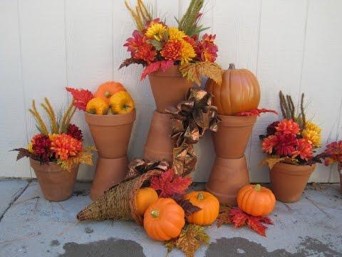 Fall Thanksgiving Terra Cotta Pot Outdoor Decorations Featuring Miriam Joy