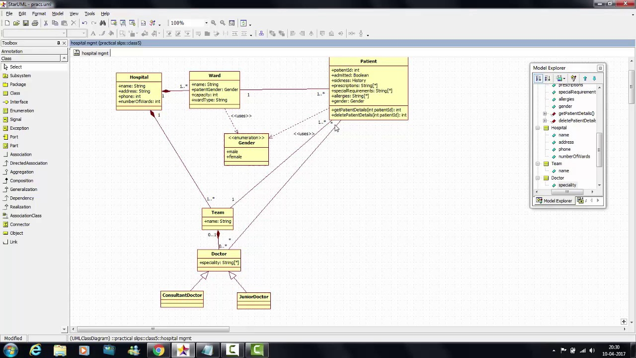 Tutorial 6 Hospital Management System Class diagram