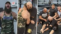 """You big bum dosser!"" Tyson Fury gets blindsided by Braun Strowman at WWE Performance Center"