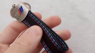 Ebay / Aliexpress BMW M power Leather Belt Chrome Keyring Keychain Key Chain