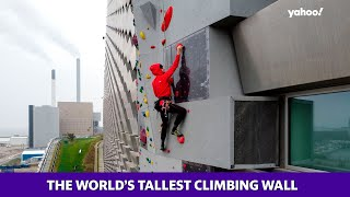 This snowless ski slope also has the world's tallest climbing wall