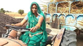 Indian village king lady driver on Massey tractor// driver Massey tractor with traditional share
