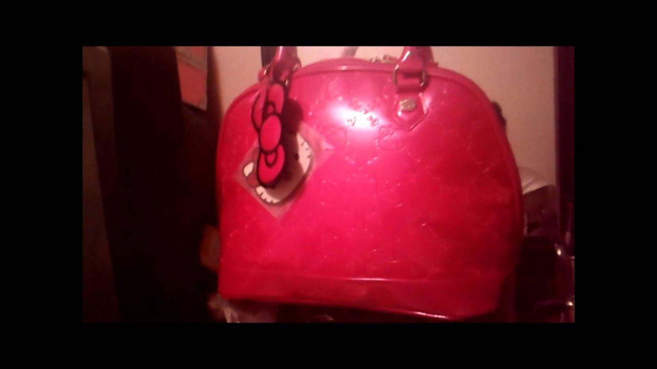 Hello Kitty Fuschia patent Embossed Bag   Wallet - YouTube 0caa1d4bb5e1e